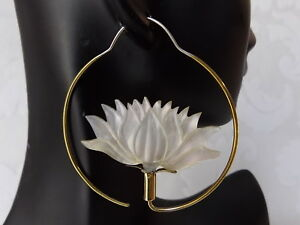 Carved Lotus Shell Hoop Earrings .925 Sterling Silver Hook Jewelry Gift for Yogi