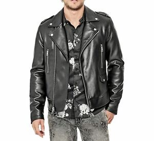 Guess NEW Black Mens Size 2XL Motorcycle Faux-Leather Printed Jacket $198 100