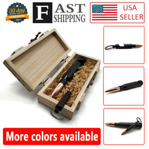 Black 50 Caliber Bullet BEER Bottle Opener & .308 bullet Keychain in wooden box