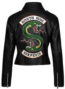 Riverdale Southside Serpents Snake Patch Women Black Motorcycle Leather Jacket