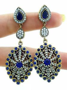 TURKISH OTTOMAN HANDMADE JEWELRY 925 STERLING SILVER SAPPHIRE EARRINGS C9