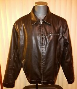 GUESS FAUX LEATHER CAFE RACER BIKER MOTORCYCLE JACKET MEN'S XXL BLACK INSULATED