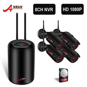 ANRAN 1080P HD Wireless Security Camera System Home CCTV WiFi Video 8CH NVR 1TB