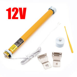 12V DC 30RPM 25mm DIY Electric Roller Blind Shade Tubular Motor w Holder Set