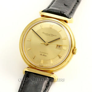 IWC Deluxe Caliber 8531 Vintage Automatic Dress Watch 18K Yellow Gold 1960's
