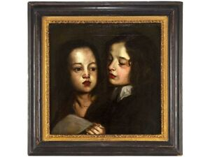 17th Century Portrait Two Children Singing After Sir Peter Lely