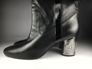 Chanel Women's Over the Knee Lambskin Silver Heel Boots Size 41