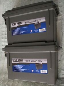 2 BEAR ARMS Field Ammo Box ACGRN Ammunition Plastic Storage Container