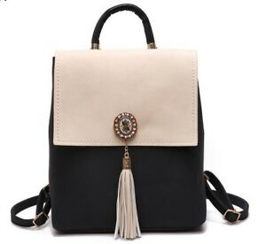 Girl School Bags For Teenagers Women Small Backpack Black Leather Women's Back