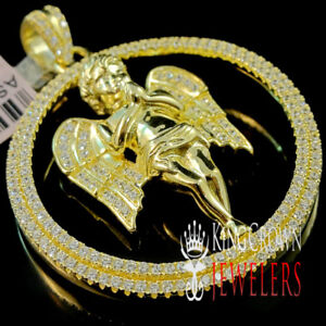 Yellow Gold On Real Silver Angle Wings Praying Hands Charm Simu Diamond Pendant $89.99