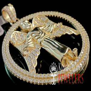 Mens Real Rose Gold Silver Angle Wings Praying Hands Charm Simu Diamond Pendant $89.99