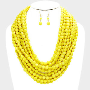 Yellow Multi Chain Layered Beaded Style Necklace and Earrings Set Jewelry