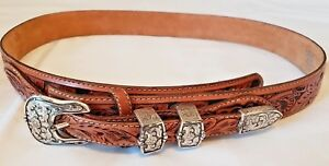 Tony Lama Mens Belt Size 38 Leather Hand Tooled Floral Design Silver Buckle Tip