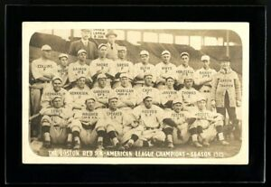 1915 Boston Red Sox Real Photo Postcard with Babe Ruth from Copeland collection!