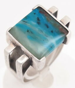 Size 9 Dendritic Peruvian Blue Opal Modernist Vintage Sterling Silver Ring 12.2g