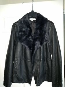 Kenneth Cole Women's Leather Jacket Black Plush Fur Collar Jacket Moto Large