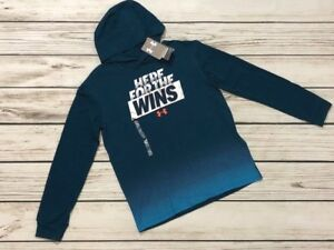 NWT Under Armour Boys Size YXL Here For The Wins LS Hooded Tee T Shirt Teal
