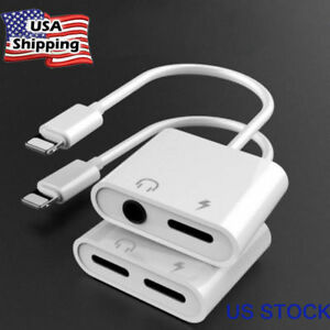 For iPhone X XS Max 8 7 Plus iOS 10 11 12 Aux Audio Charge Adapter Cable Dongle
