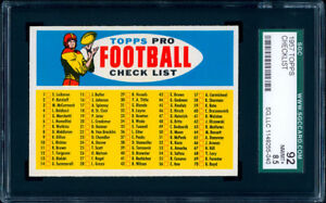 1957 Topps Football Twin Blony Checklist SGC 92 NMMT+++ The hobby's #1 example!