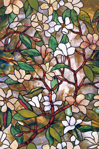 New FLORAL Privacy Stained Glass Decorative Window Film Magnolia Decor