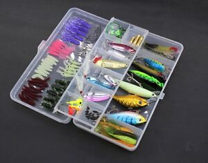 100pcs Fishing Lures Set Kit - Fish Spinnerbait Hooks Bass Lure Bait Tackle Box