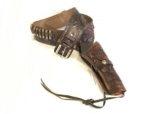 Western style cowboy leather pistol holster reddish brown with dummy bullets