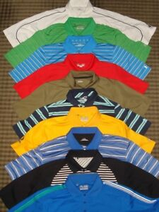 LOT-10 UNDER ARMOUR MULTI COLOR POLY SOLIDSTRIPES SS POLO SHIRTS WLOGOS SZ. M