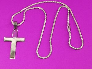 925 - Sterling Silver - Big - Cross Pendant  & 2mm Rope chain 24''  19.6 gram.