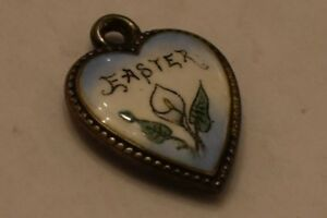 Easter Lily Puffy Heart Charm vintage Sterling enamel