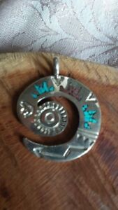 Native American Navajo Vintage Energy Pendant with Turquoise and Coral inlay