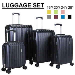 3/4Pcs Travel Set Bag Trolley Spinner Suitcase Luggage ABS w/Lock 16