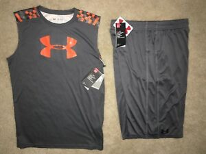 NWT Under Armour Youth XL Shorts Loose Fit Gray & SHIRT TOP SLEEVELESS OUTFIT