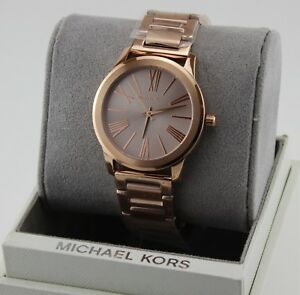 NEW AUTHENTIC MICHAEL KORS HARTMAN ROSE GOLD BRACELET WOMEN'S MK3491 WATCH
