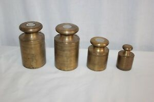 Vintage Set 4 Solid Brass Ohaus Calibration Weights Balancing Scale Scoop 1 2 KG