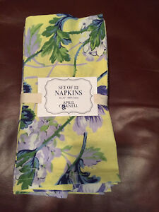S12 April Cornell FLORAL Yellow Green Purple & White Dinner Napkins--NWT
