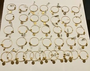 ALEX AND ANI LOT OF 40 CHARM BRACELETS IN RUSSIAN GOLD. BRAND NEW WITH TAGS