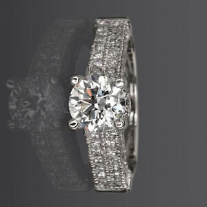 COLORLESS LADIES ROUND DIAMOND RING VVS1 D 2.41 CARATS ACCENTED 18 KT WHITE GOLD