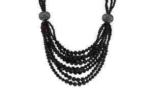 Jacqueline Kennedy Black Bead Statement Necklace