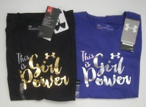 Girl's Under Armour Girl Power Tshirt Purple Black M L XL New NWT MSRP $19.99 $4.00