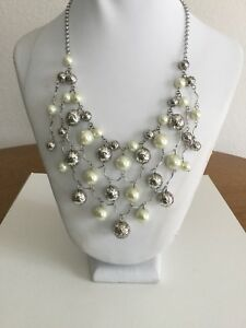 Brighton Necklace Glamour Pearl And Silver Statement Bib