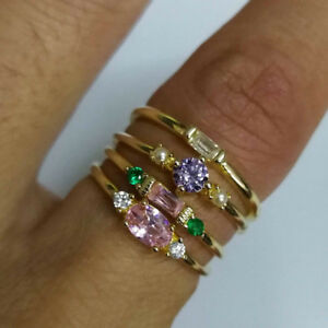 4 Pcs/Set Ellipse Rectangle Round Crystal Inlaid Zircon Rings Jewellery Shan