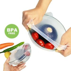 Stretchable Lid Reusable Silicone Food Wrap Vacuum Bowl Seal Cover Ref BPA Free