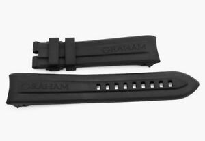 New Genuine Replacement Black Rubber Watch Band for Graham Swordfish