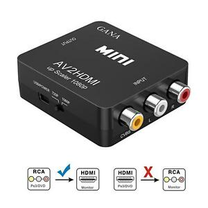 RCA to HDMI GANA 1080P Mini RCA Composite CVBS AV to HDMI Video Audio Converter