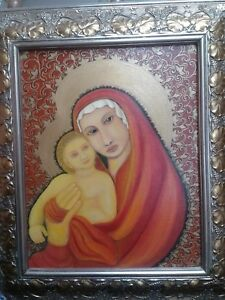 ..MADONNA IN RED ''ORIGINAL PAINTINGS RELIGION ART BY GALINA USA ARTIST