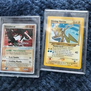 2 Rare Pokemon Cards - Mint in plastic - Shining Raichu and Groudon ex