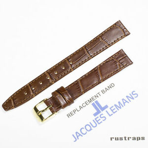 Original Jacques Lemans 14mm brown leather watch band for 1 1445D model $30.00