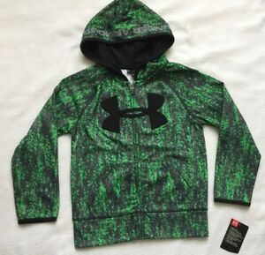 Under Armour Boys Size 5 Hoodie Camo Black Green Camo Full Zip