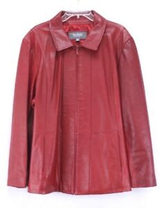 womens red WILSONS leather jacket coat zip front soft classic plus 3X