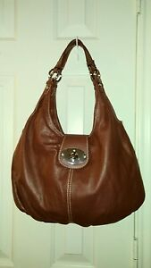 NorthStyle Red Soft Leather Hobo Double Shoulder Strap Twist Lock Handbag Purse